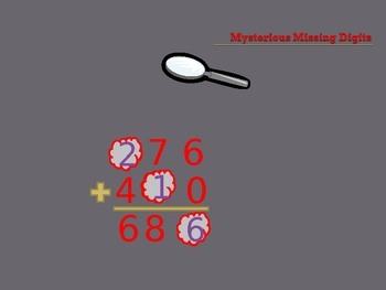 Addition Mystery Digits: 3-digit addition w/o regrouping