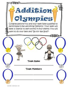 Addition Olympics Math Games and Activities Common Core