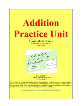 Addition Practice and Subtraction Practice Combined Units