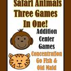 Addition Safari Animals Concentration, Go Fish & Old Maid