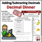 Addition, Subtraction Decimal Dinner Activity Project Common Core