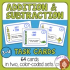 Addition & Subtraction Task Cards w/ Fun Shapes Answer She
