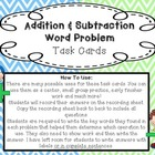 Addition & Subtraction Word Problem Task Cards: Common Cor