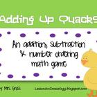 Addition, Subtraction and Number Ordering Math Game