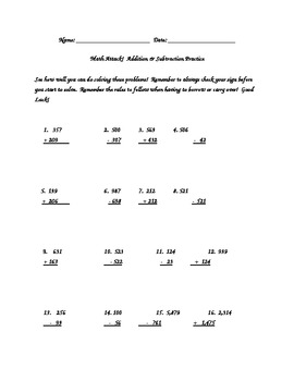 Addition & Subtraction with Regrouping Operations Sheet