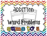 Addition Word Problems {sums to 5}