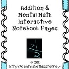 Addition and Mental Math Interactive Notebook Pages- Commo