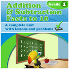 Addition and Subtraction Facts to 10, Grade 1 - Common Core