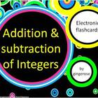 Addition and Subtraction Integer Electronic Flashcards