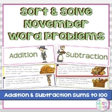 Addition and Subtraction Word Problem Sort: Thanksgiving S