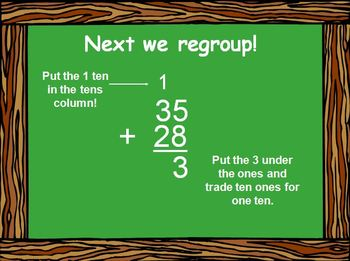 Addition with Regrouping Practice Power Point Presentation