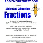 Addition/Subtraction of Fractions 4th-6th+ Grade Common Core!