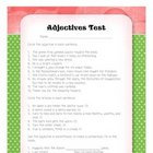 Adjectives Test Quiz Parts of Speech Assessment