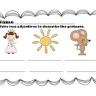 Adjectives homework/worksheet pack
