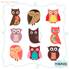 Adorable Owls CLIP ART and DIGITAL PAPER - Easy to Use in Word