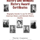 African American History and Women's History Biography Cer