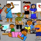 African American Student Clipart for School including EEKK