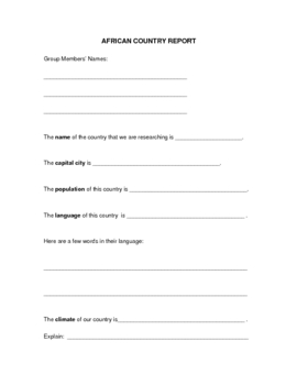 African Country Report Form