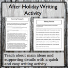 After Holiday Writing Activity