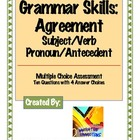Agreement Skills Test: Subject/Verb & Pronoun/Antecedent w/ Key