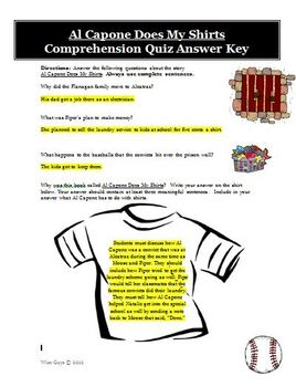 Al Capone Does My Shirts Comprehension Quiz and Answer Key