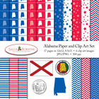 Alabama Clip Art and Digital Paper with Flag, Seal, Quarte