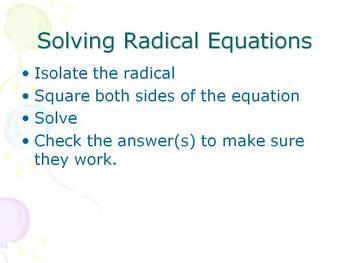Alg 1 -- Solving Radical Equations