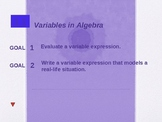 Alg 1.1 Variables in Algebra