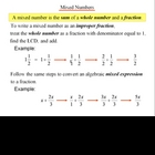 Algebra 1: 250 Mixed Numbers