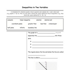Algebra 1 Cornell Notes: Inequalities in Two Variables