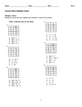 Algebra 1 Function Rules Examview Bank