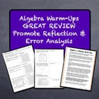 Algebra 1 Math Warm-Ups Galore! REVIEW & Encourage Error A