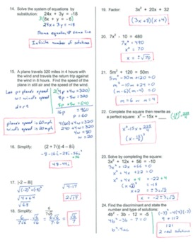 Algebra 2 PreTest/Review and Final Exam