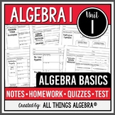 Algebra Basics - Notes, Homework, Quizzes, and Test Bundle!