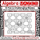 Algebra Bundle of Mazes (Slope, Equations of Lines, Radicals)