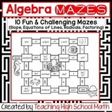 Algebra Bundle of Mazes (Slope, Equations of Lines, Radica