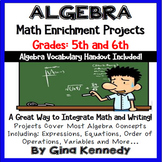 Algebra Differentiated Project Menu w/Vocabulary