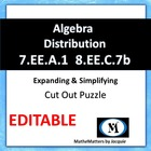 Algebra: Distributive Property - Cut out Puzzle