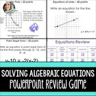 Algebra Equations Powerpoint Review Game