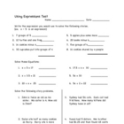 Algebra Expressions and Test