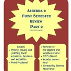 *Freebie* Algebra I:  First Semester Review Part 2 (Out of