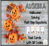 Algebra Solving Multi Step Equations Task Cards with QR Co