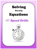 Algebra: Solving One-Step Equations Speed Drills