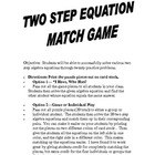 Algebra Two Step Equations Match Game