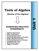 Algebra: Unit 1 - Tools of Algebra, Homework Worksheets Bundle