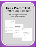 Algebra: Unit 2 - Practice Test or Review on Solving Equat