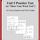 Algebra: Unit 5 Practice Test or Review on Linear Equation
