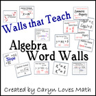 Algebra Word Wall, Walls that Teach, 100+ Concepts