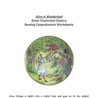 Alice In Wonderland Reading Comprehension & L/A Worksheets
