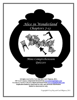 Alice in Wonderland Mini Comprehension Quizzes Chs. 7-12
